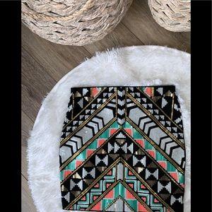 Express sequin mini skirt, Aztec design, XS, Lined